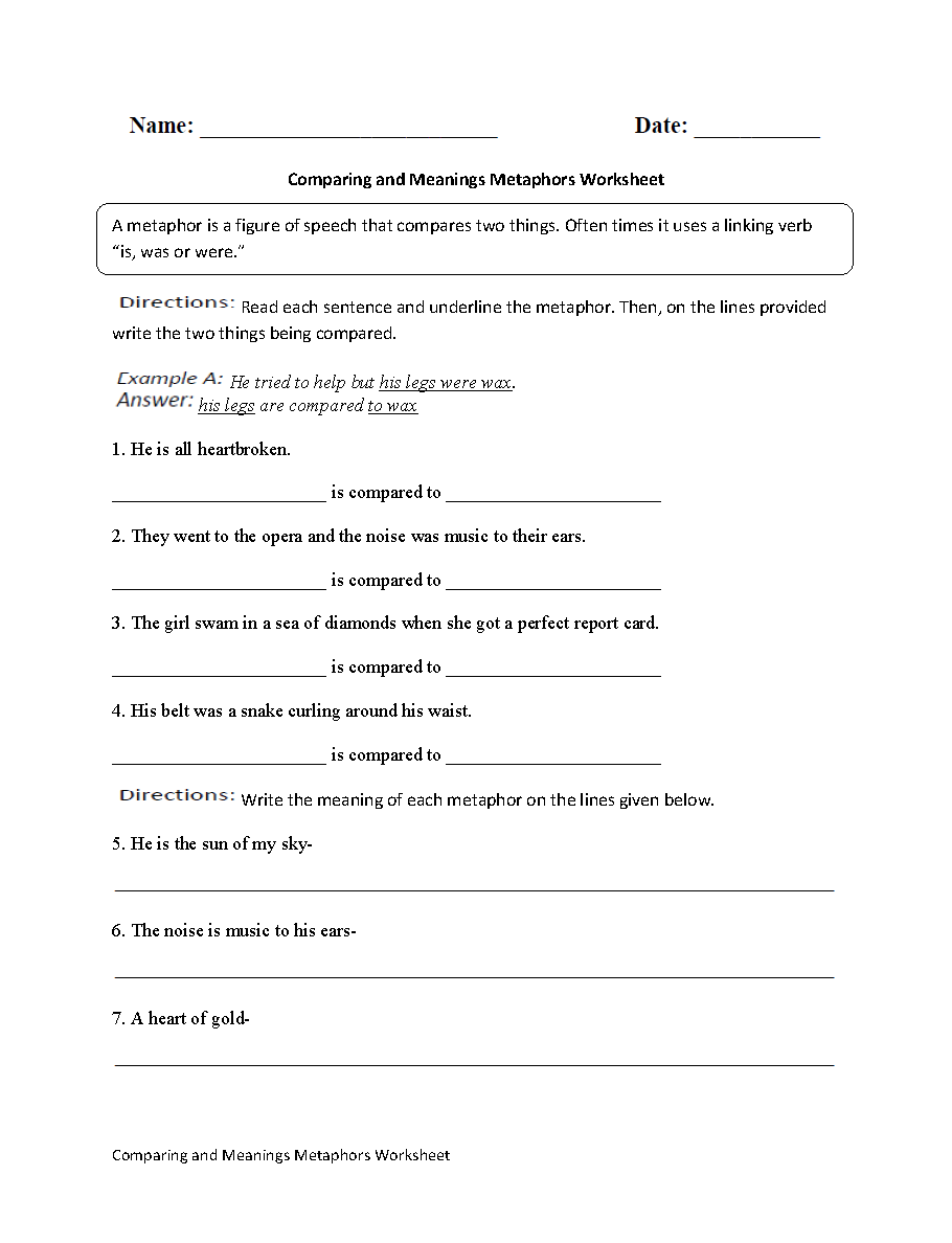 Worksheets Simile And Metaphor Worksheet englishlinx com metaphors worksheets comparing and meanings worksheet