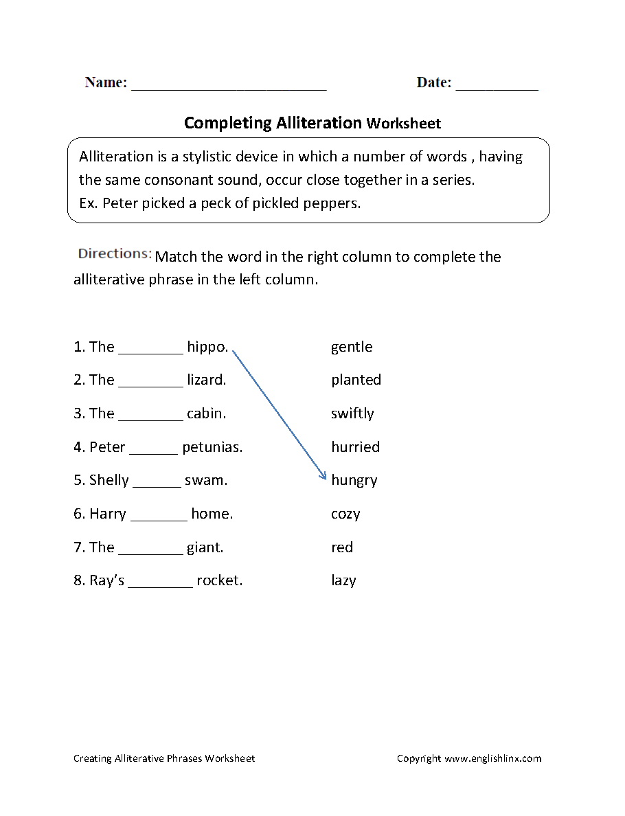 Printables Alliteration Worksheets englishlinx com alliteration worksheets completing worksheet