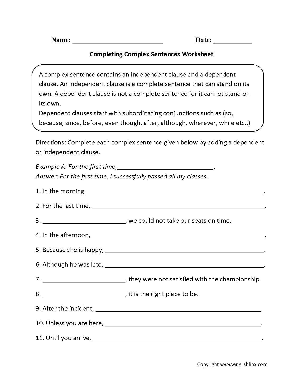 Complex Sentences Worksheets – Complete Sentence Worksheet