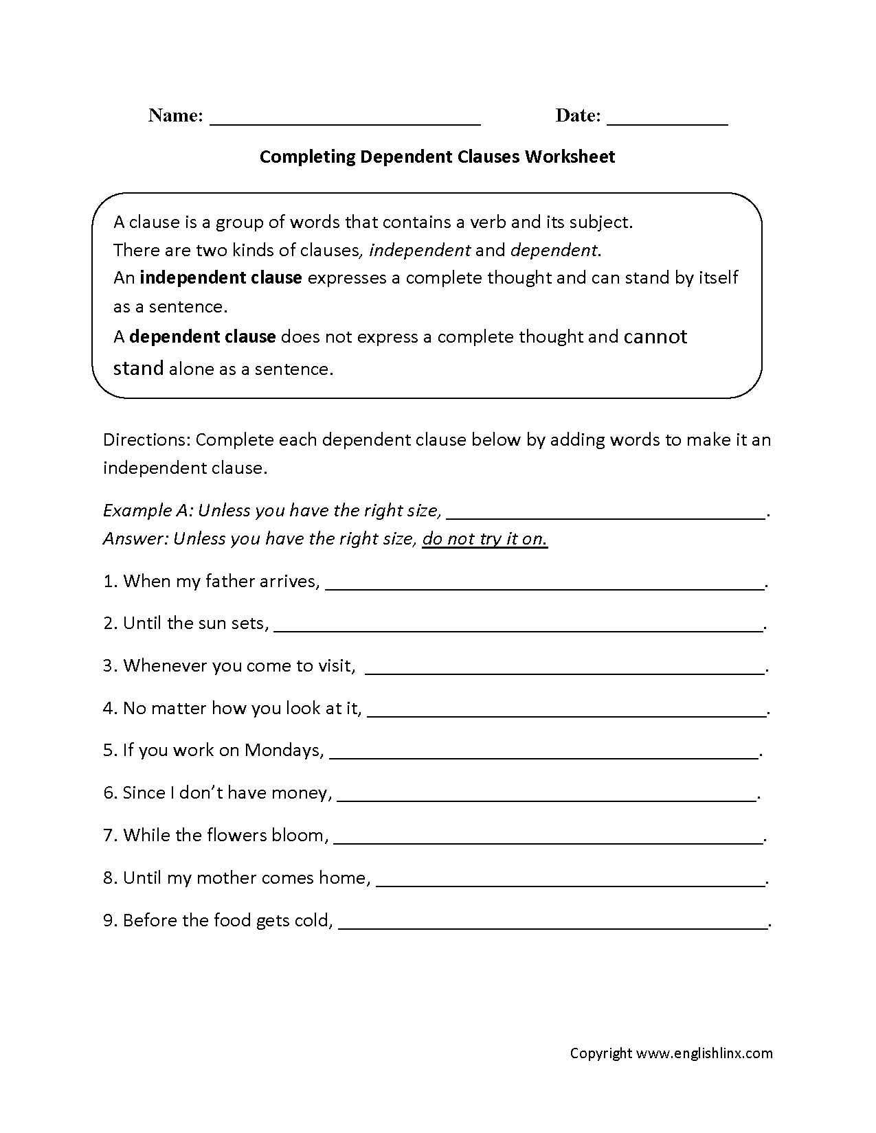 worksheet Clauses And Phrases Worksheets englishlinx com clauses worksheets completing dependent worksheet