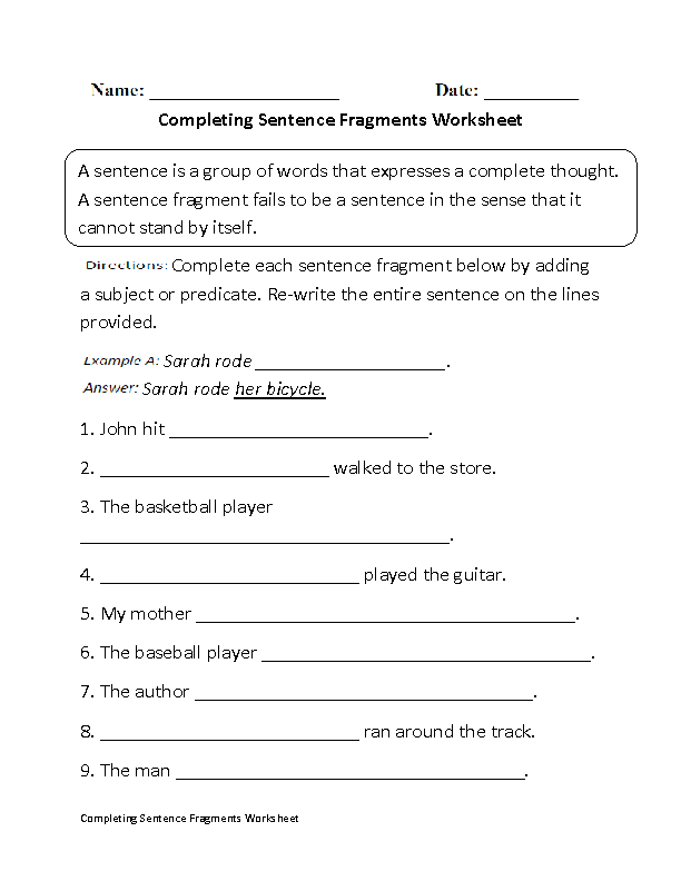 Sentence Fragments Worksheets – Sentence Completion Worksheets