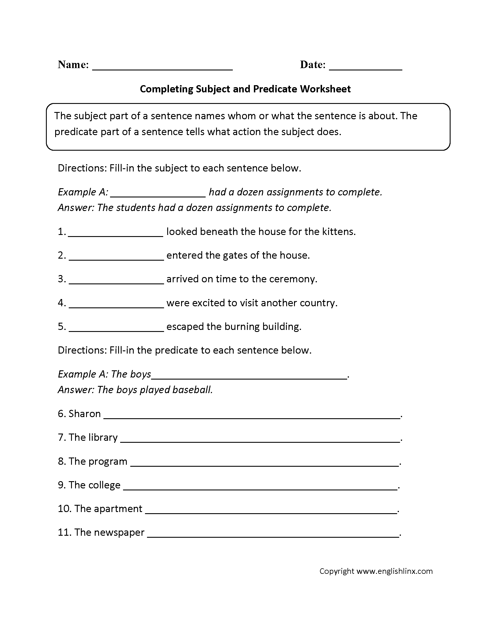 Subject Worksheets For 2nd Grade : Subject and predicate worksheets completing