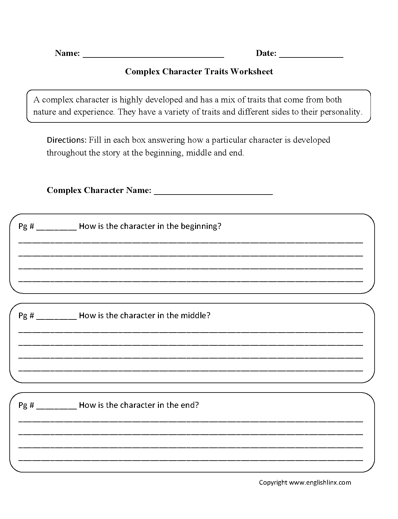 Worksheets Character Sketch Worksheet reading worksheets character traits complex worksheets