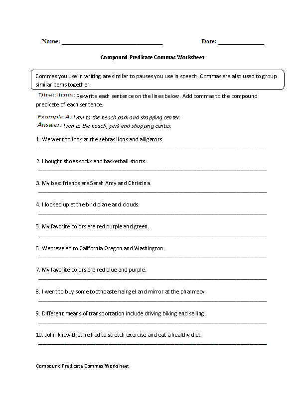 Compound Predicates Commas Worksheet
