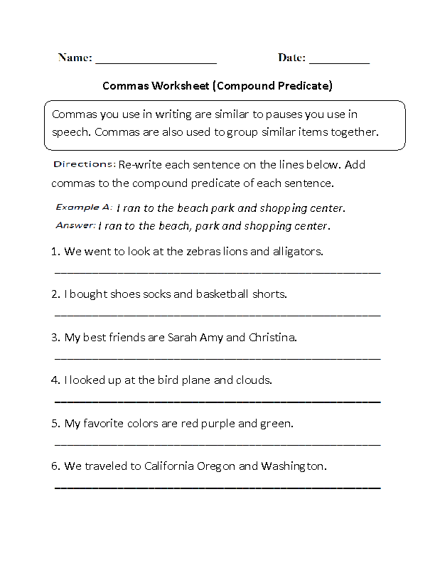 Compound Predicate Commas Worksheet