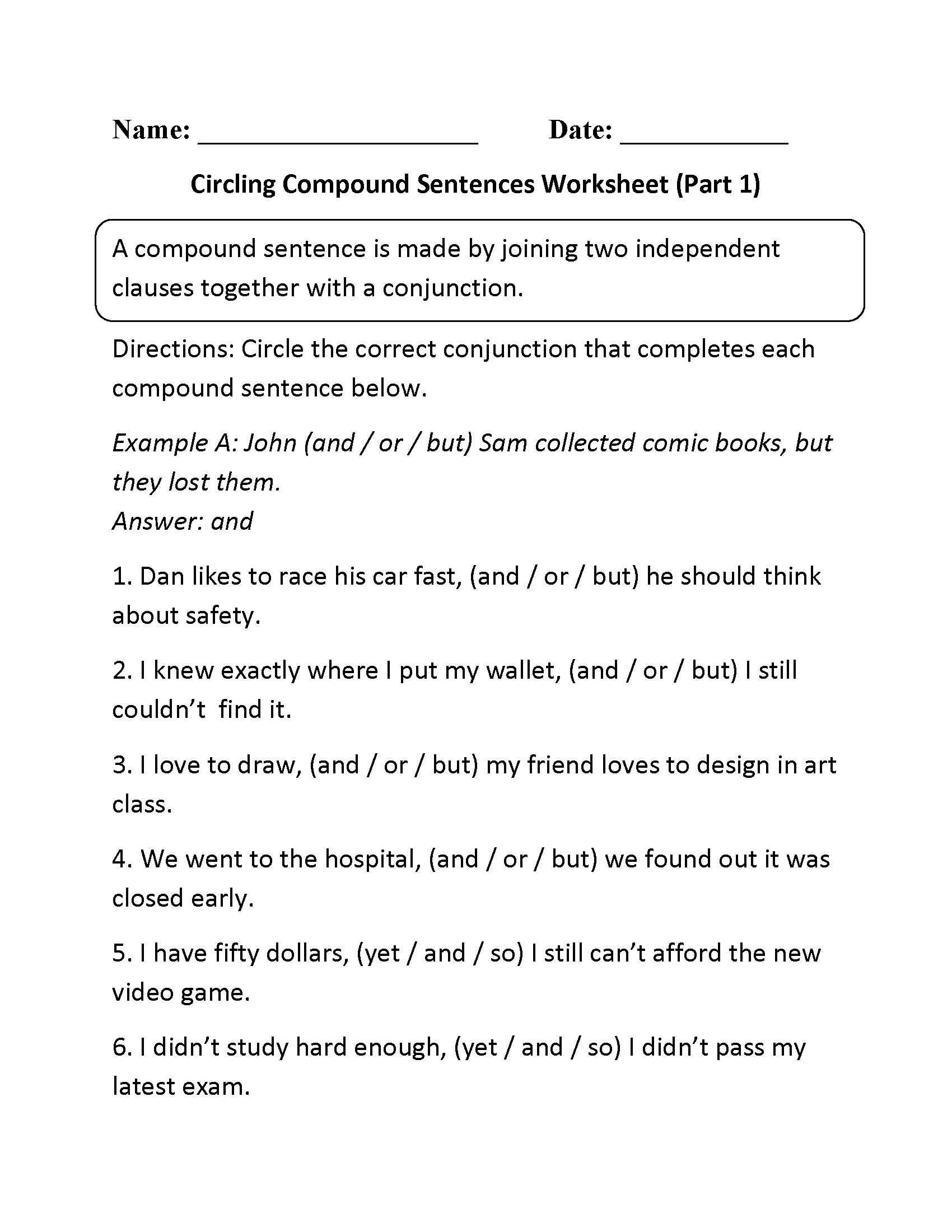 Compound Sentences Worksheet Part 1