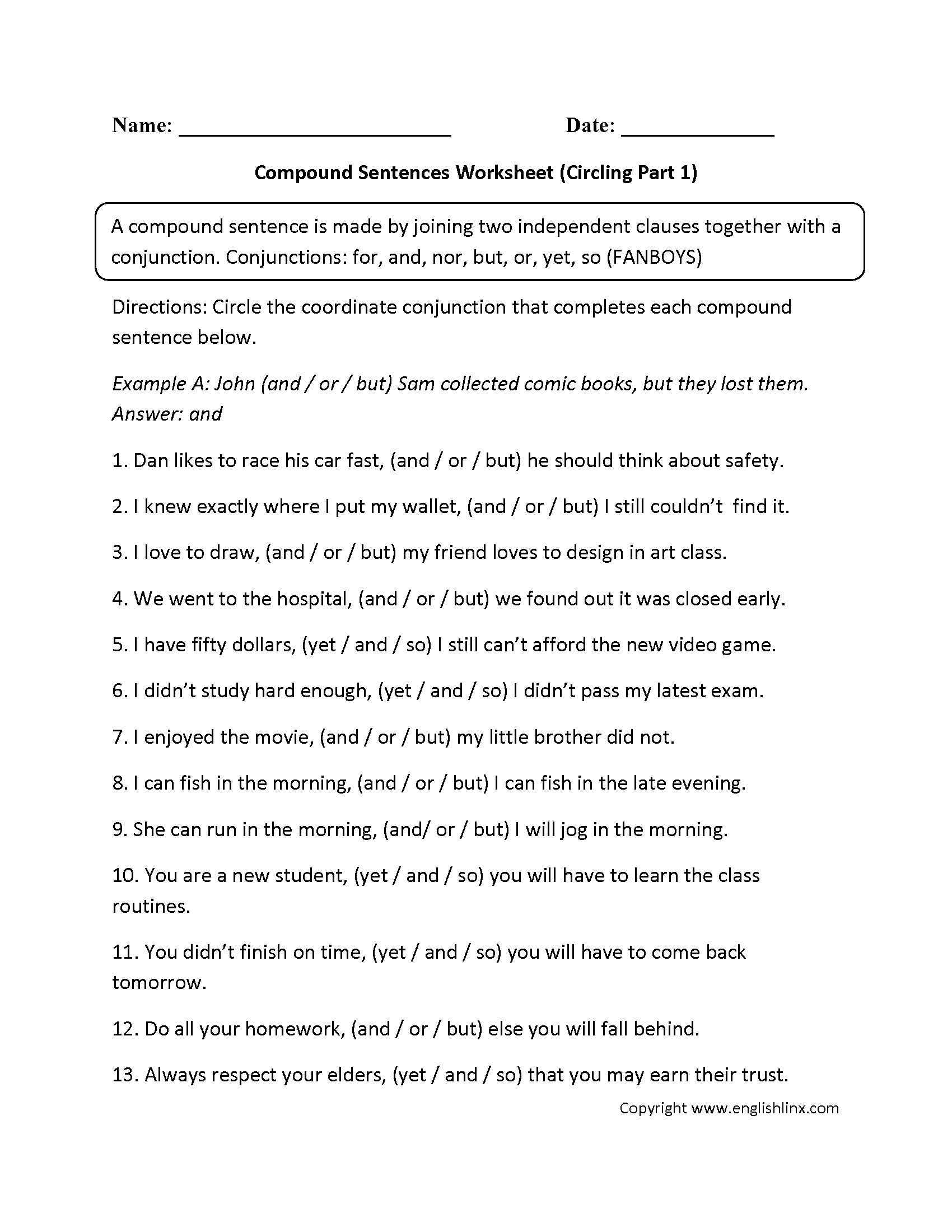 Sentences Worksheets – Compound Sentence Worksheets