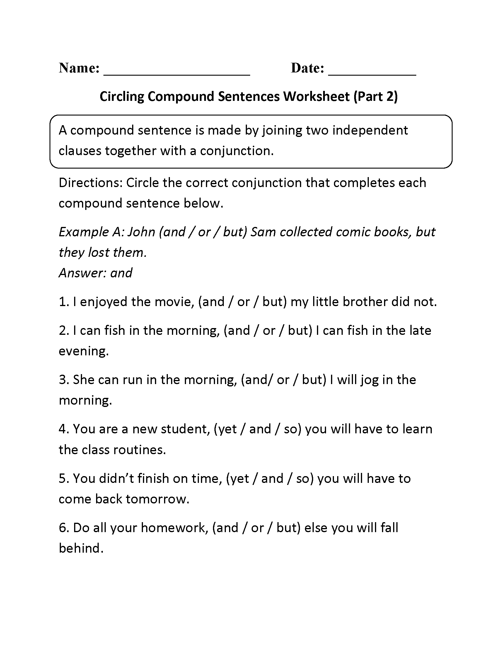 Compound Sentences Worksheets | Circling Compound Sentences ...