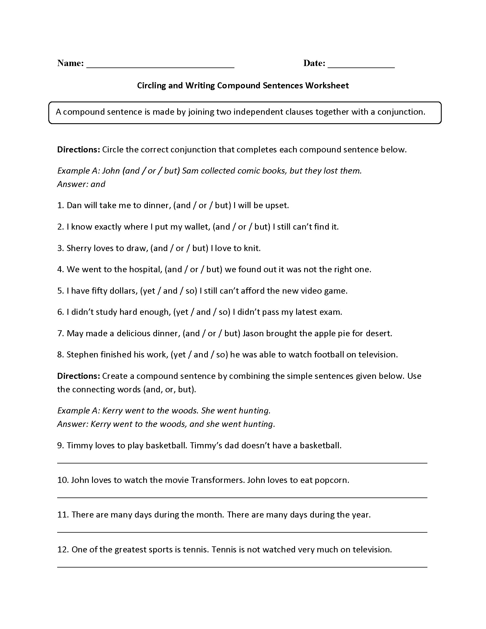 Worksheets Simple And Compound Sentences Worksheets sentences worksheets compound worksheet