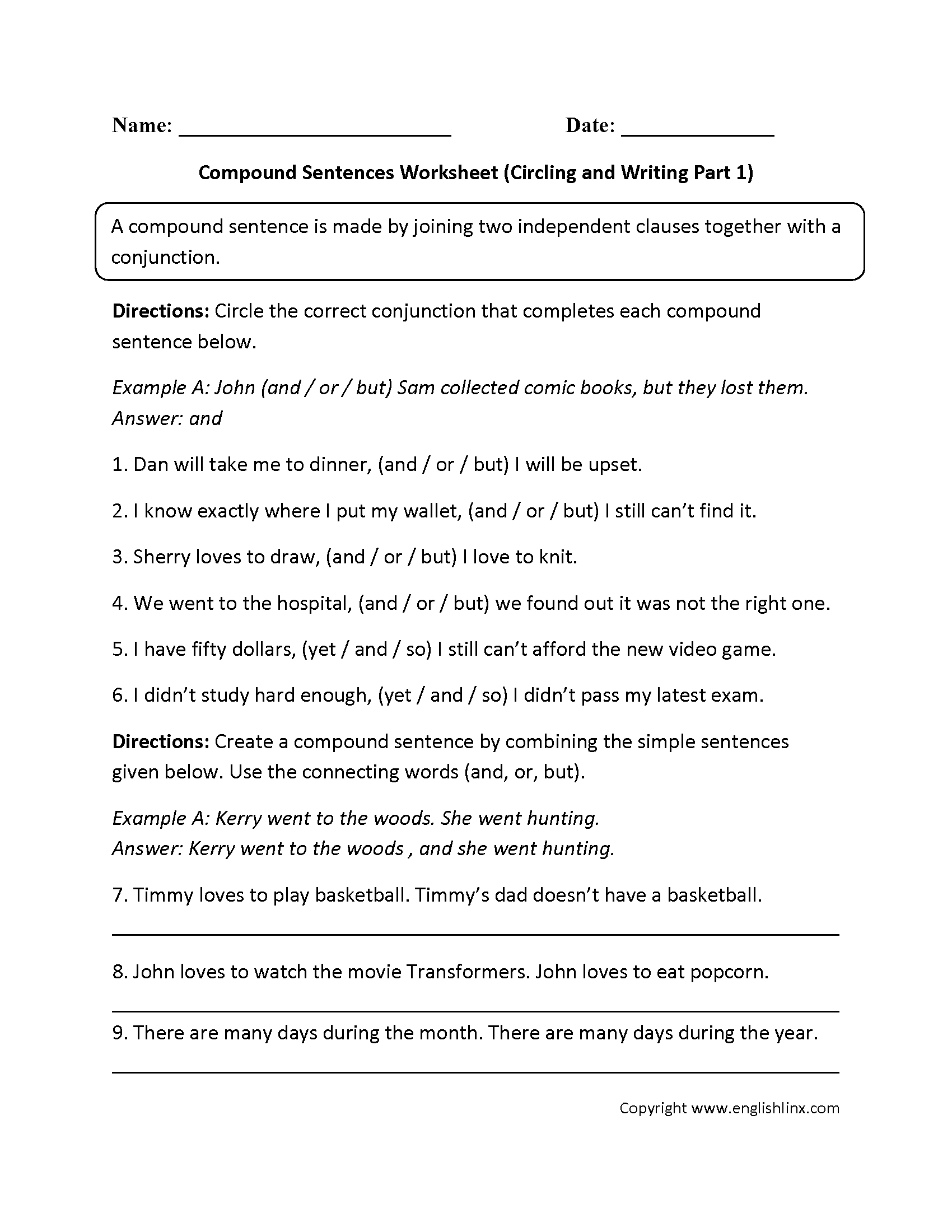 Worksheets Compound Sentence Worksheet sentences worksheets compound worksheet