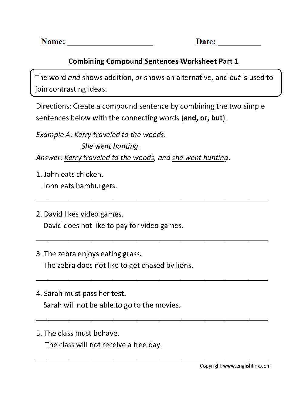 Workbooks worksheets on conjunctions for grade 8 : Sentences Worksheets | Compound Sentences Worksheets