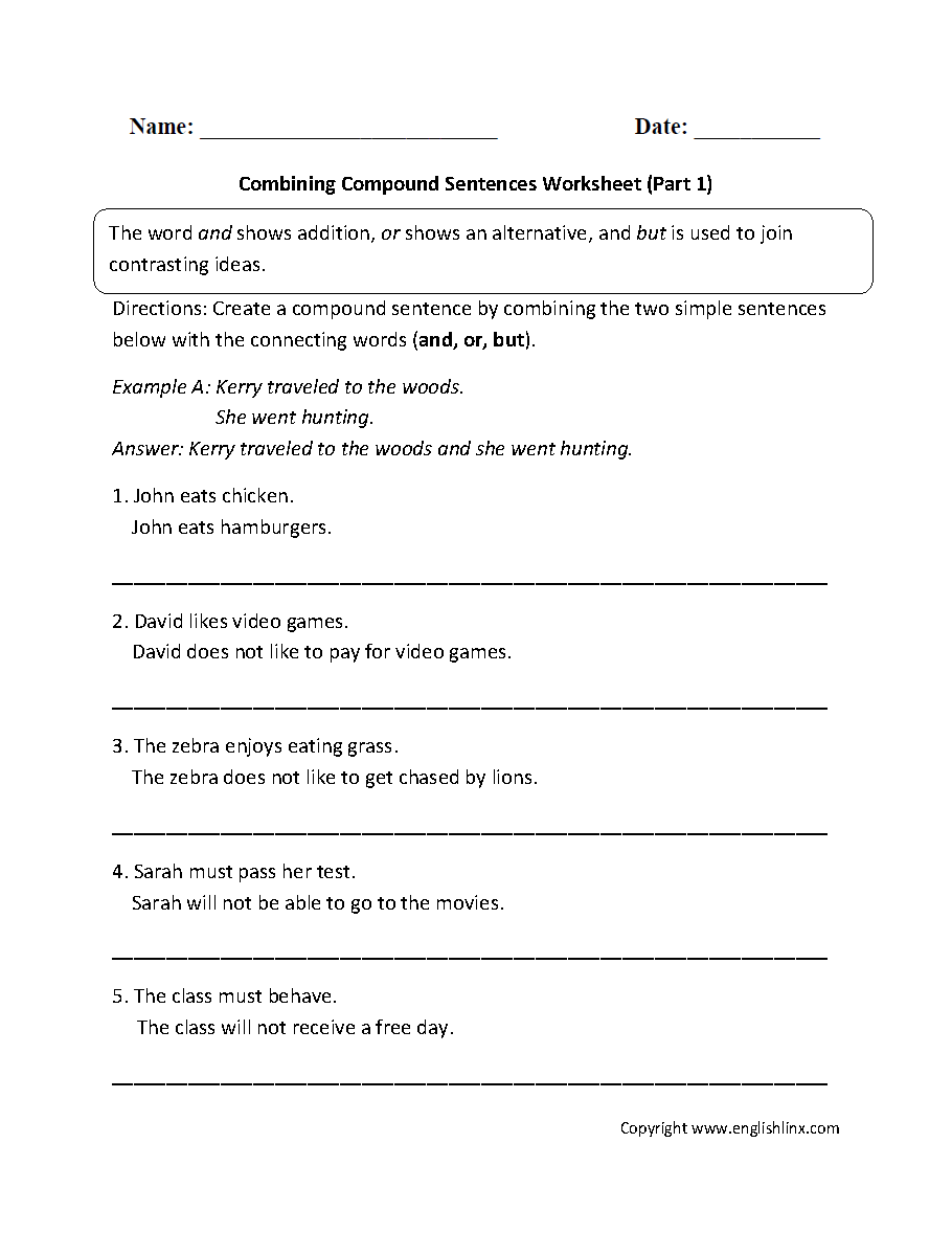 Sentences Worksheets Compound Worksheet For Kids Computer Games Parts Matching Diagram Combining With