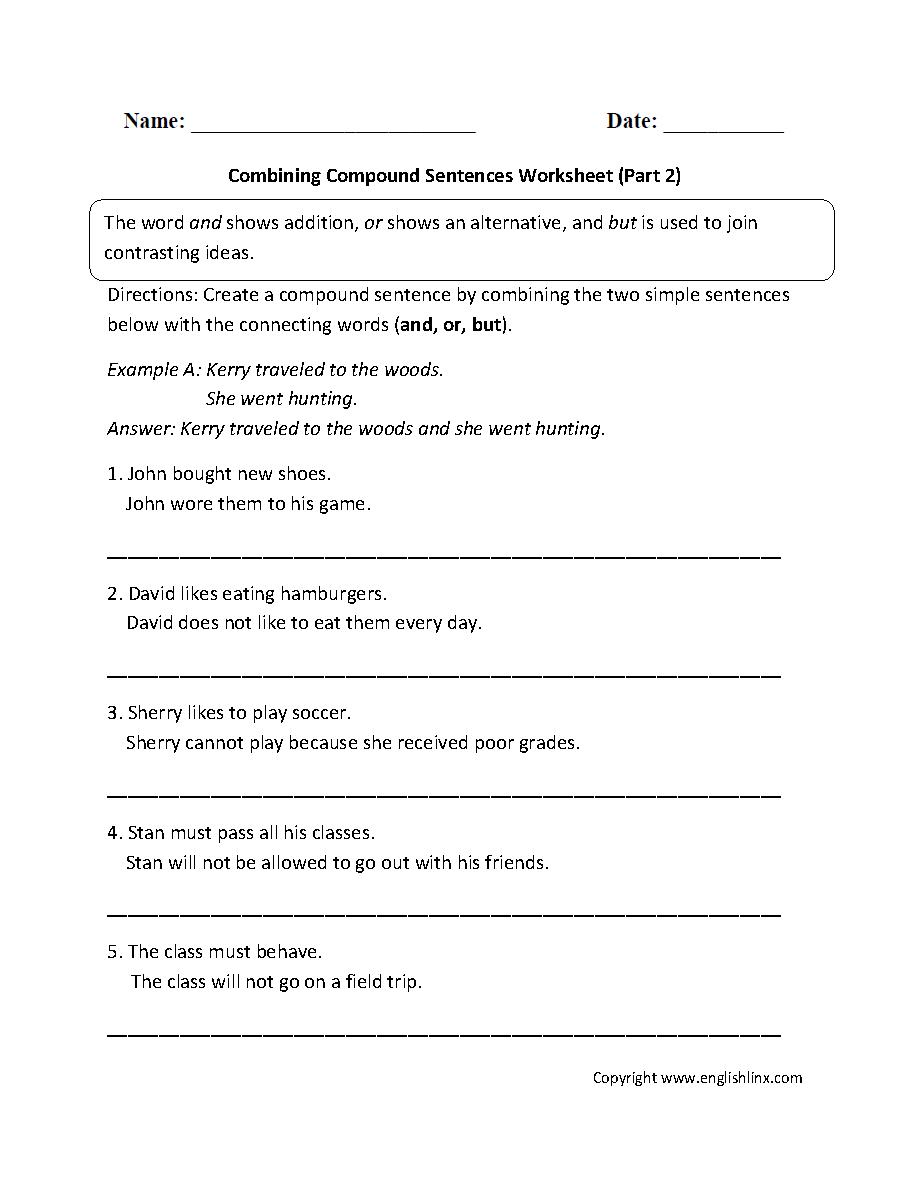 Sentences Worksheets | Compound Sentences Worksheets
