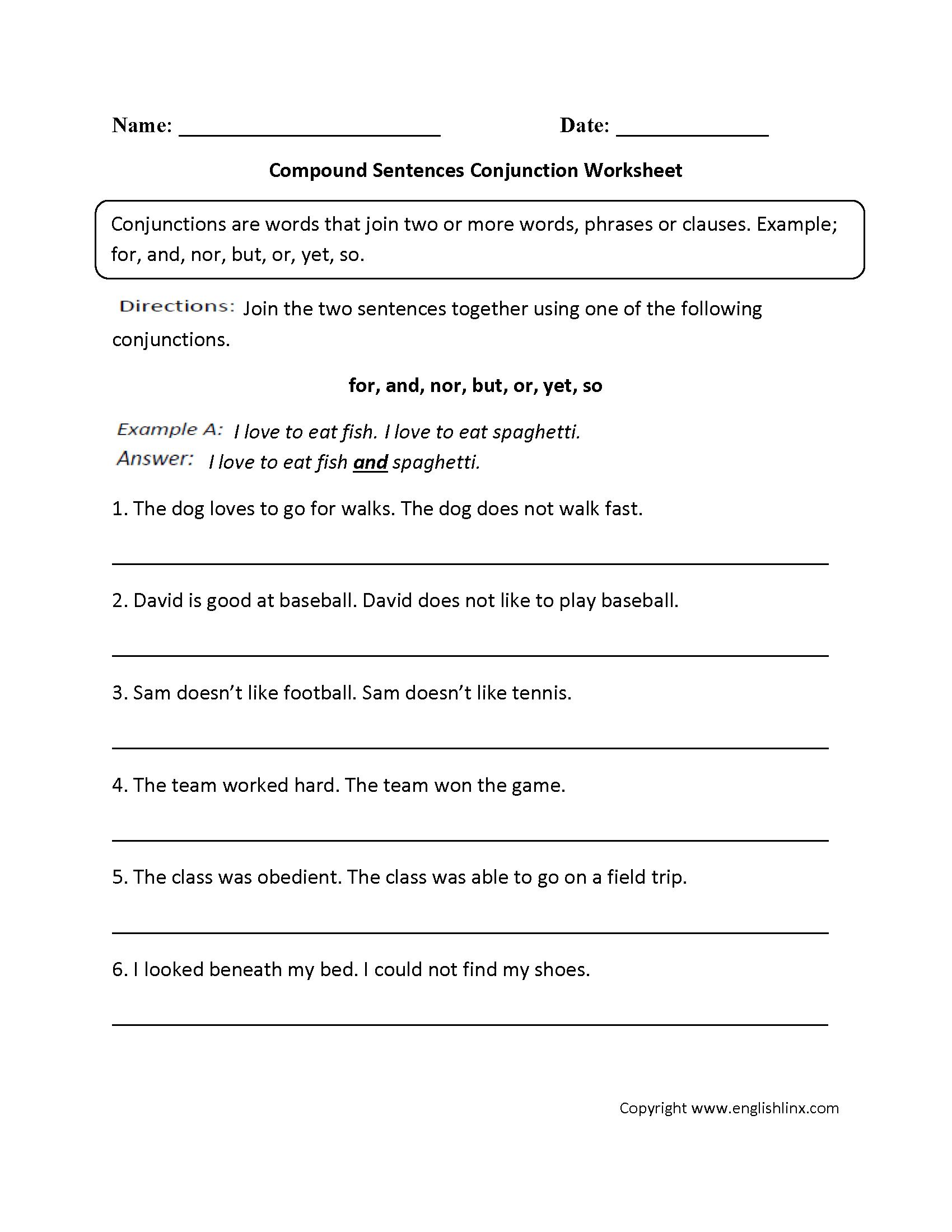 worksheet Conjunction Worksheet parts speech worksheets conjunction worksheets