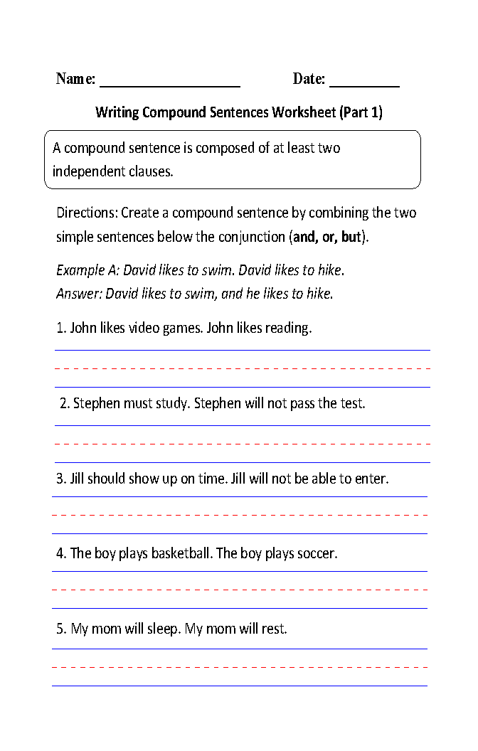 Compound Sentences Worksheets – Writing Sentences Worksheets