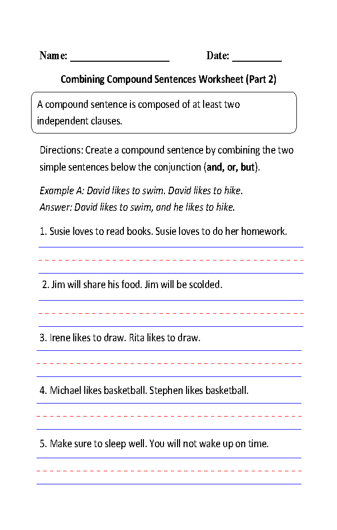 Compound Sentences Worksheets | Writing Compound Sentences ...