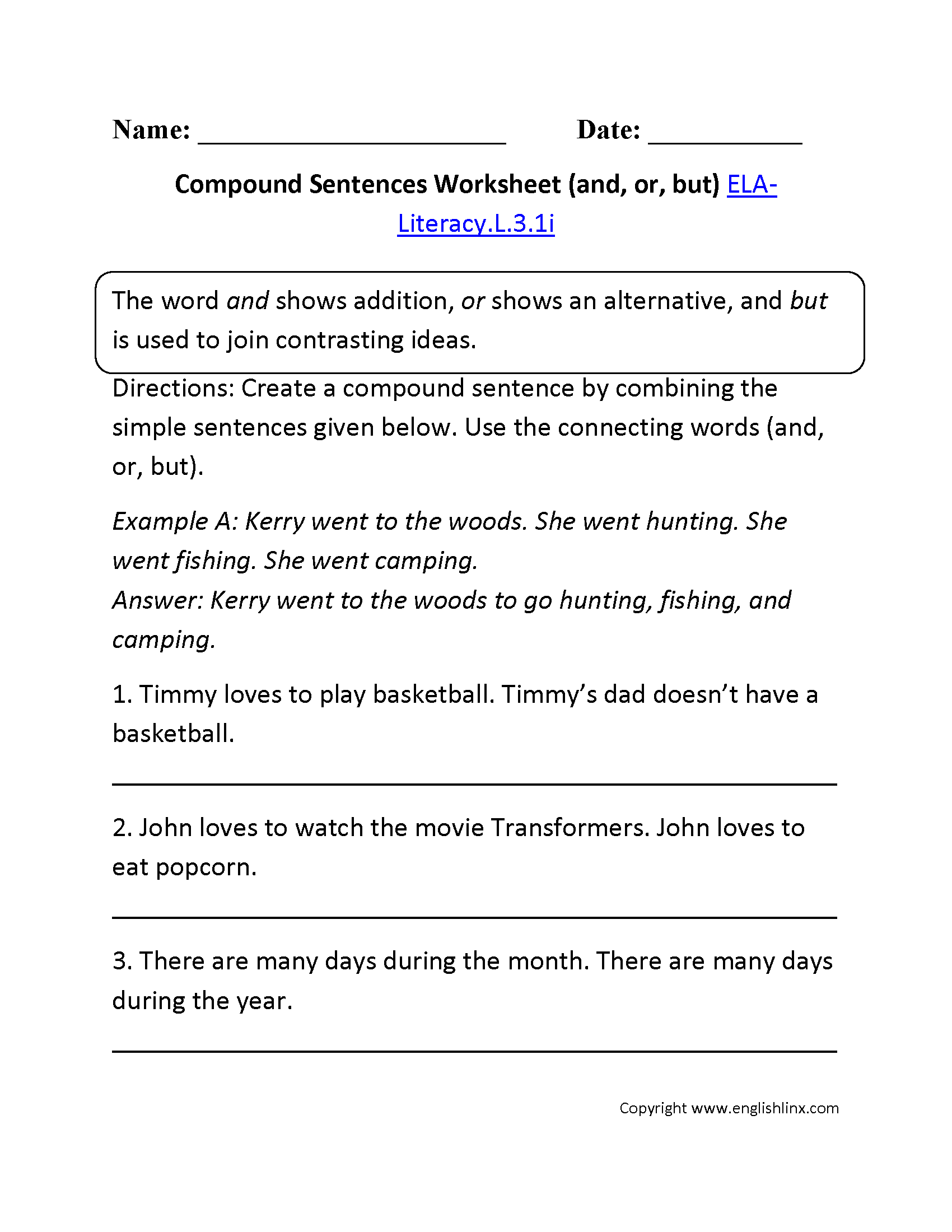 Worksheets Simple And Compound Sentences Worksheets worksheet combining sentences worksheets mytourvn 3rd grade common core language compound sentence 1 ela literacy