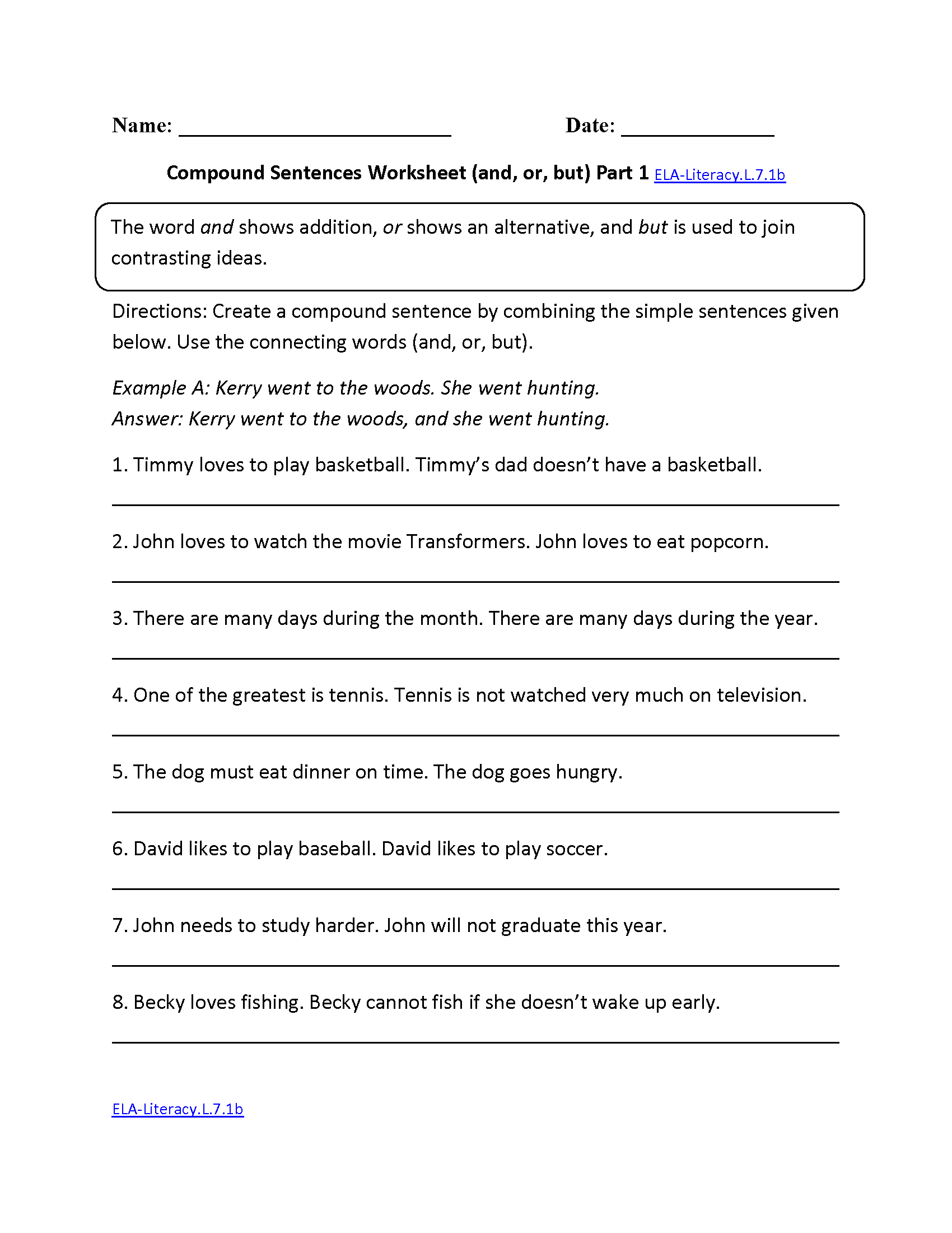 worksheet Fun Language Arts Worksheets 7th grade common core language worksheets compound sentences worksheet ela literacy l 7 1b worksheet
