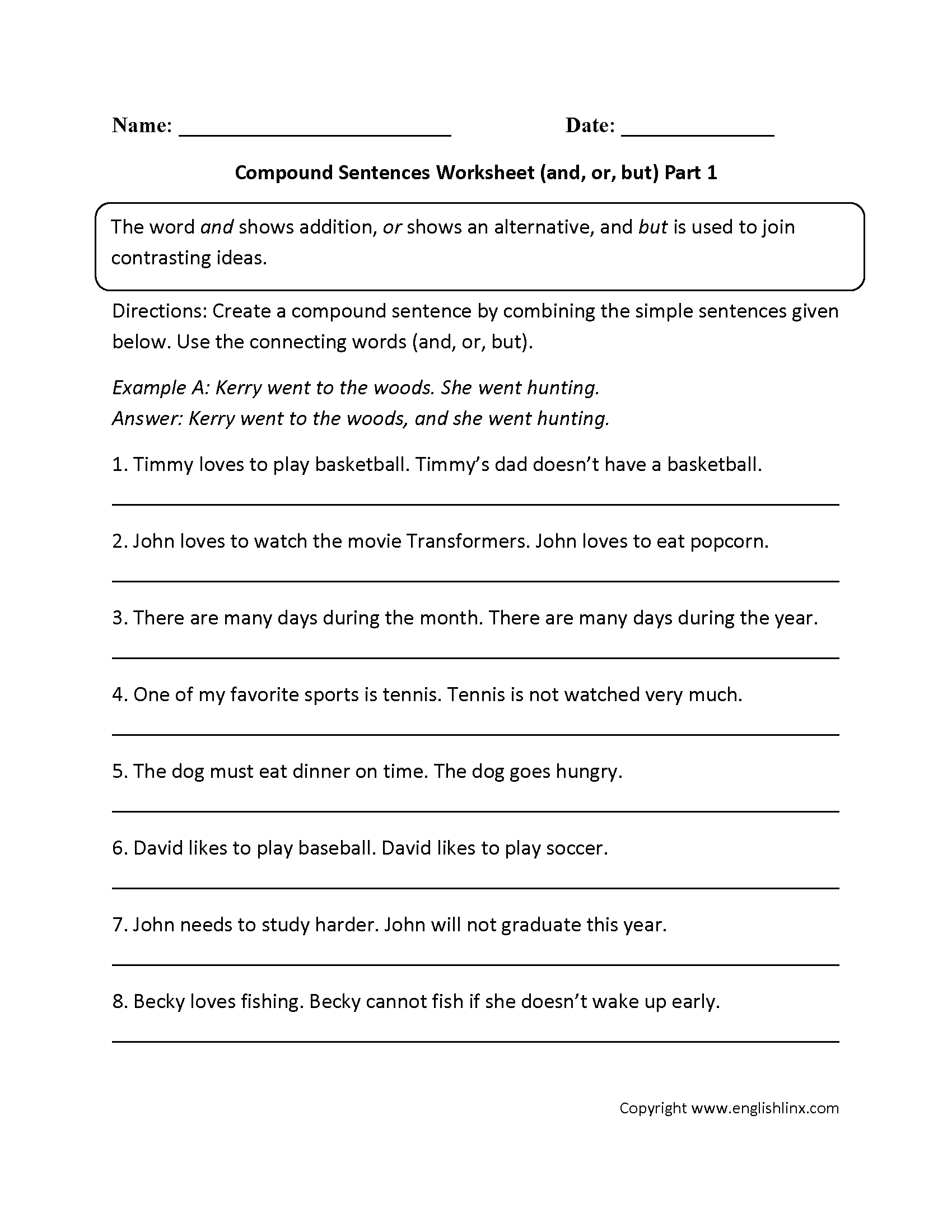 Sentences Worksheets | Compound Sentences Worksheets