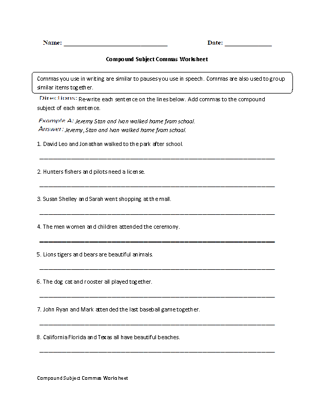 Compound Subjects Commas Worksheet