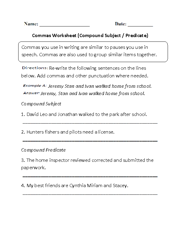 Commas Worksheets | Compound Subject and Predicate Commas Worksheet