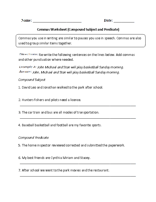 Compound Subject and Predicate Commas Worksheet Grades 6-8