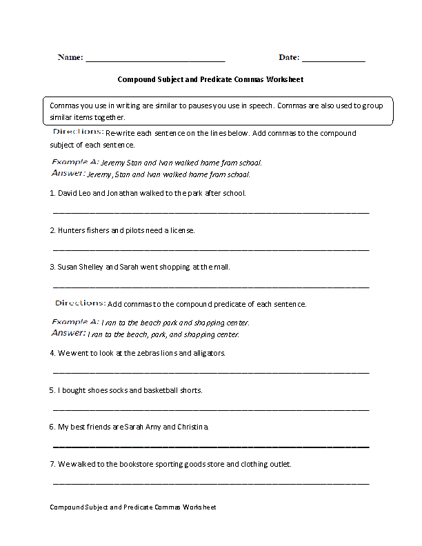 Commas Worksheets – Compound Subject and Predicate Worksheets