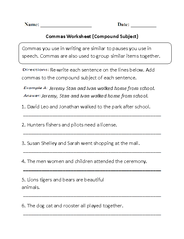 Compound Subject Commas Worksheet