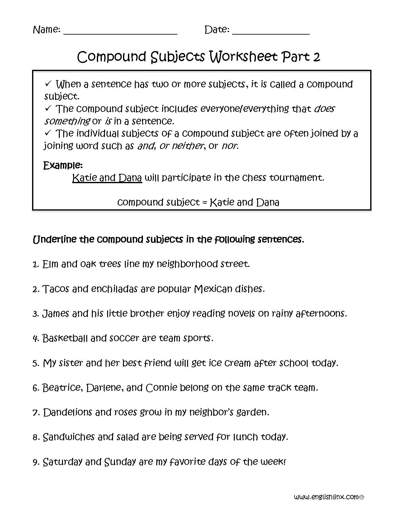 Compound Subject Worksheet Part 2