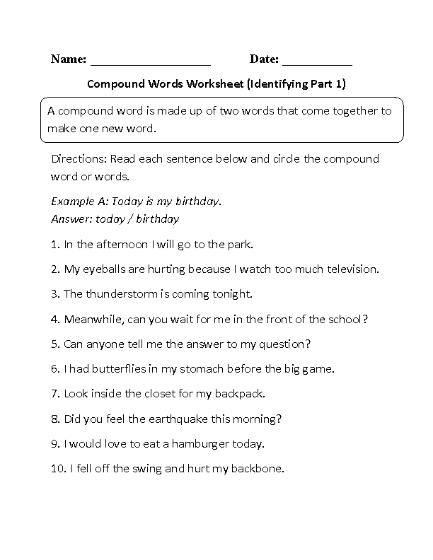 Printables Compound Words Worksheets englishlinx com compound words worksheets finding worksheet