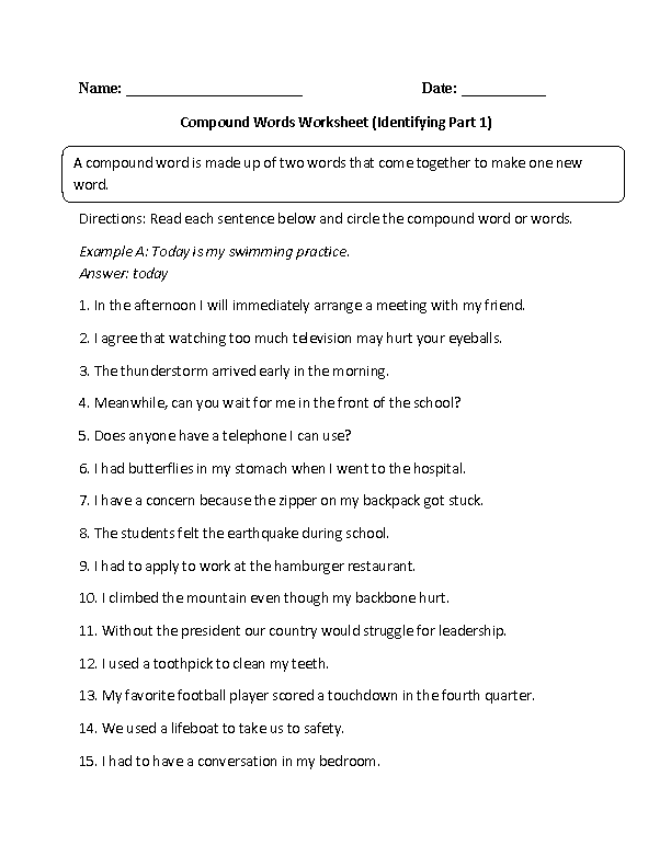 Printables Compound Words Worksheets englishlinx com compound words worksheets identifying worksheet