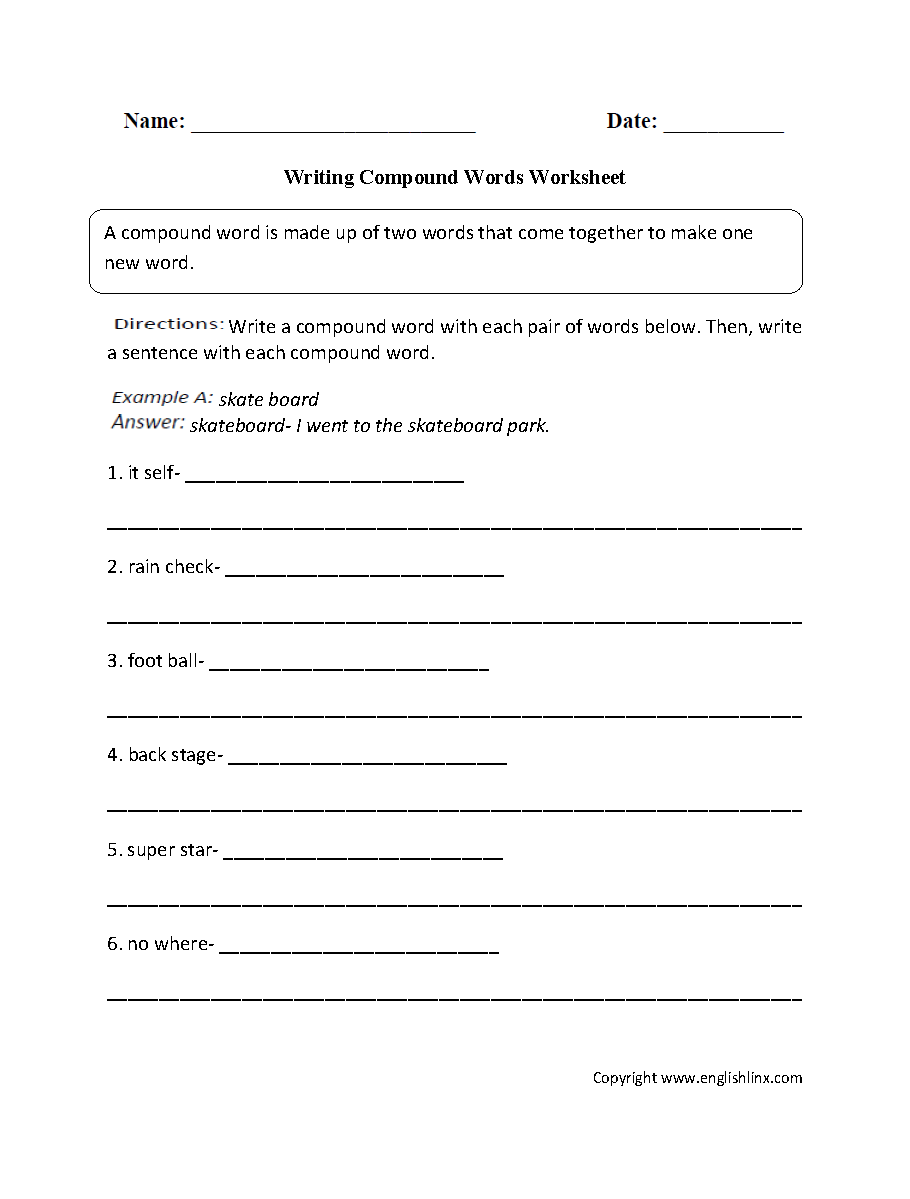 Worksheet Compound Words Worksheets 2nd Grade englishlinx com compound words worksheets writing worksheet