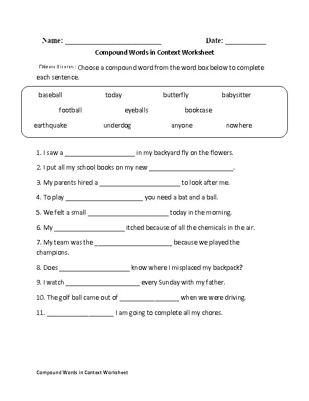 Printables Compound Words Worksheets englishlinx com compound words worksheets in context worksheet
