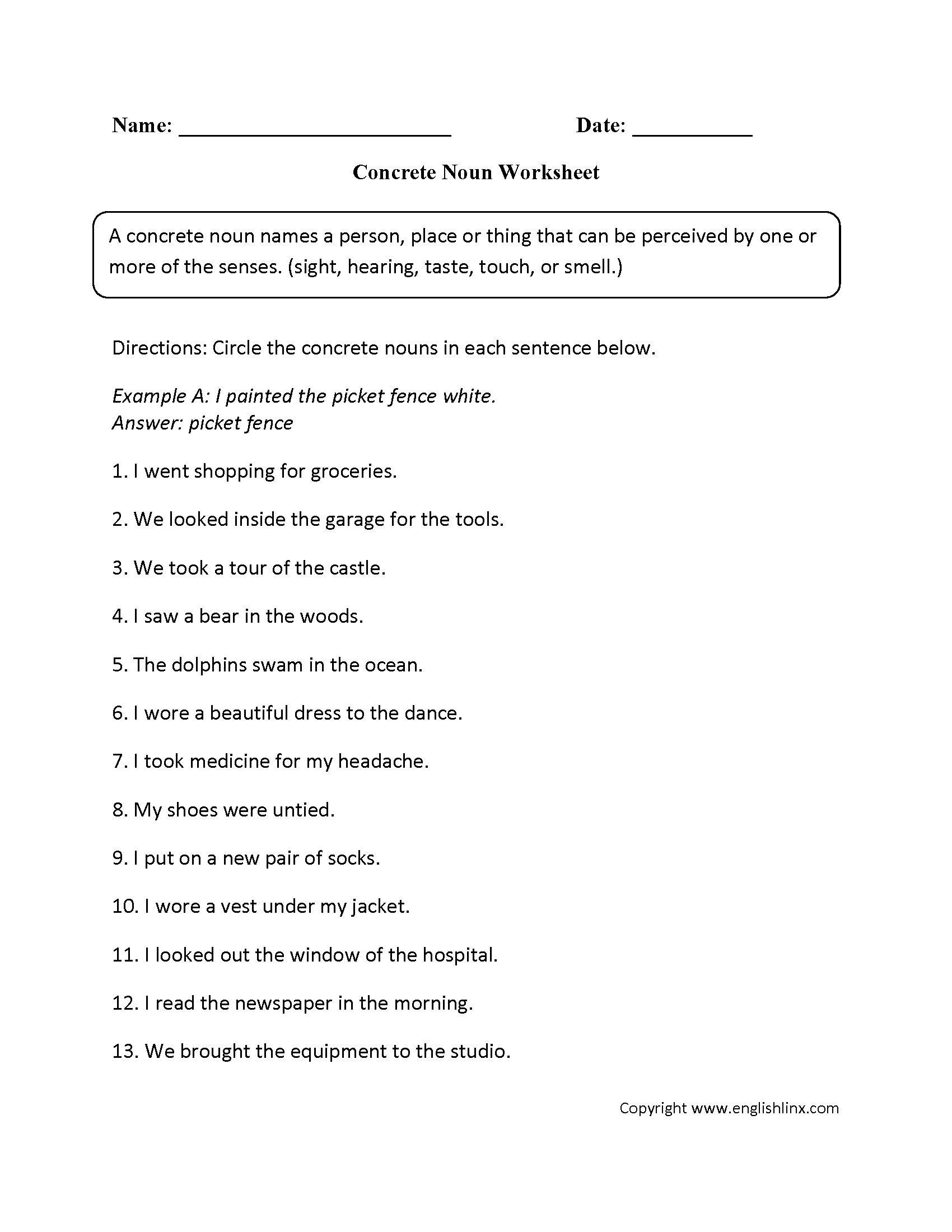 Worksheets Concrete And Abstract Nouns Worksheet parts speech worksheets noun intermediate worksheets