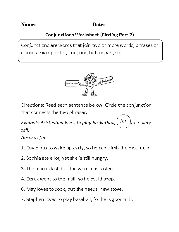 Conjunctions Worksheets | Circling Conjunctions Worksheet