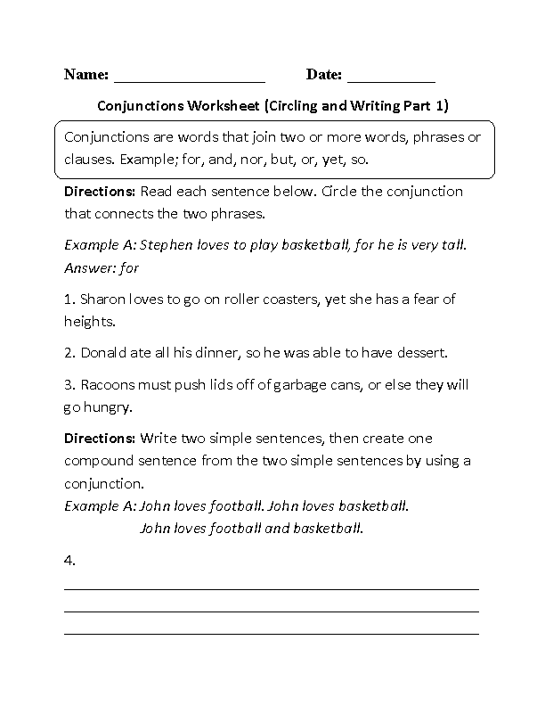 Printables Conjunction Worksheets englishlinx com conjunctions worksheets worksheet circling and writing