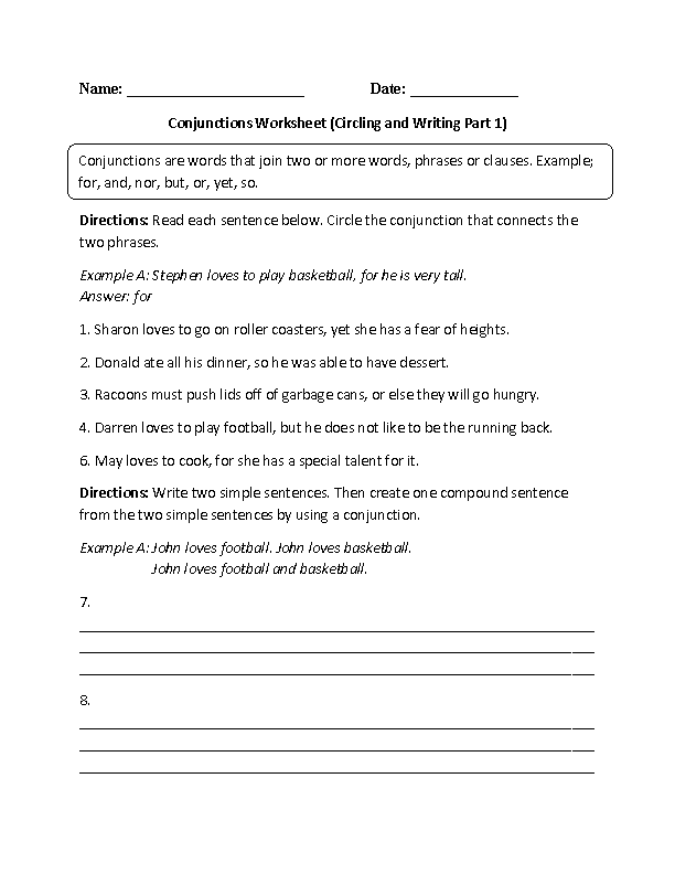 Printable Worksheets conjunctions worksheets for kids : Conjunction-worksheets &