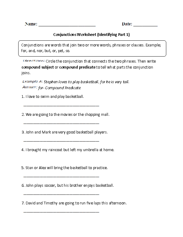 Conjunctions Worksheets | Identifying Conjunctions Worksheet
