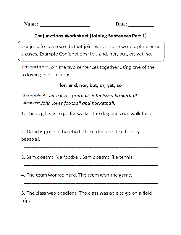 Englishlinx – Conjunctions Worksheet 5th Grade