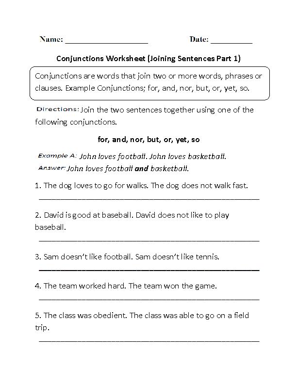 Englishlinx.com | Conjunctions Worksheets