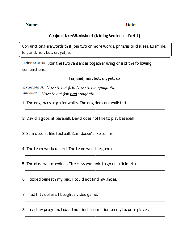 Worksheet Conjunction Worksheets 4th Grade englishlinx com conjunctions worksheets joining sentences worksheet