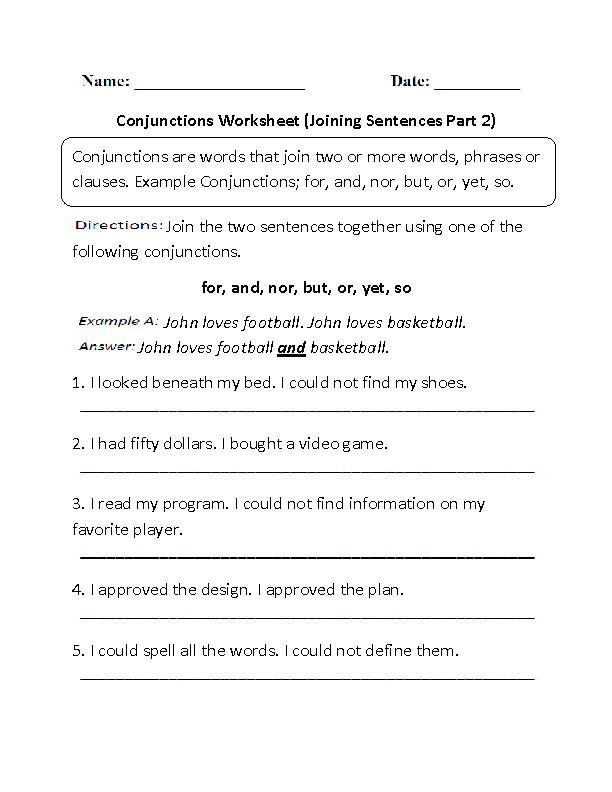 Conjunctions Worksheet Joining Sentences Part 2