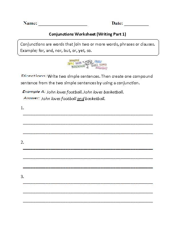 Writing Conjunctions Worksheet