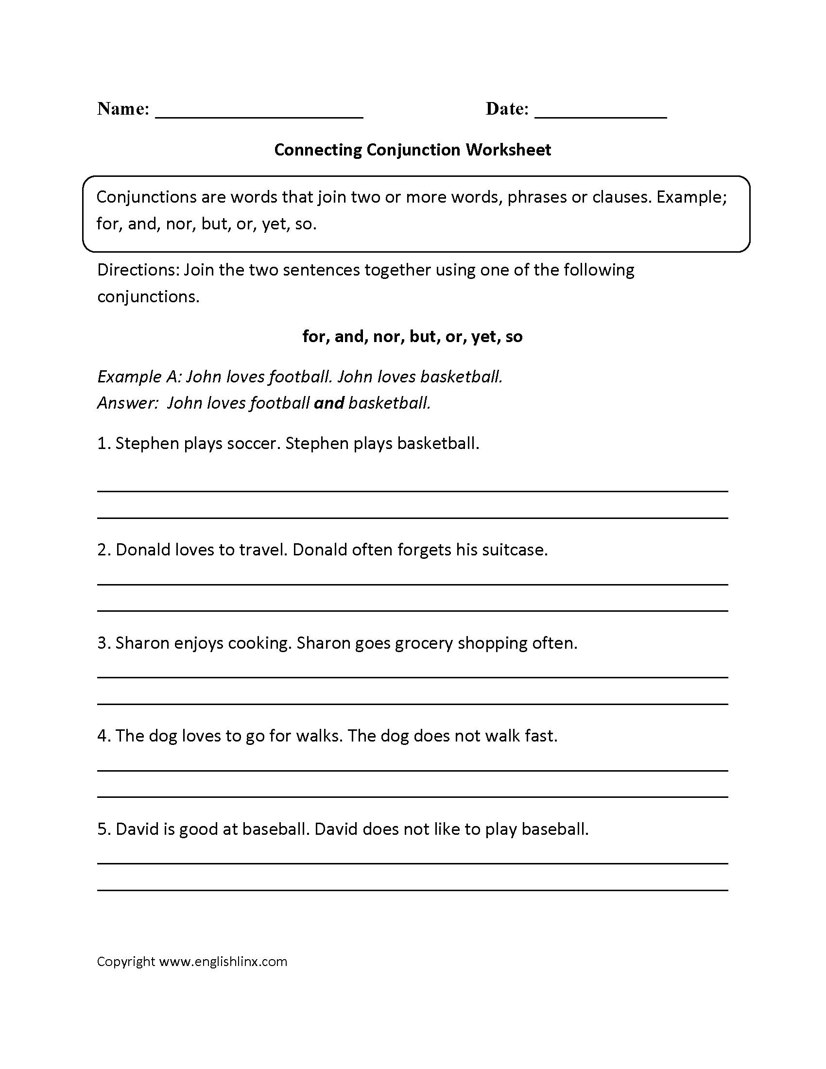 Free Worksheet Conjunction Worksheets parts speech worksheets conjunction worksheets