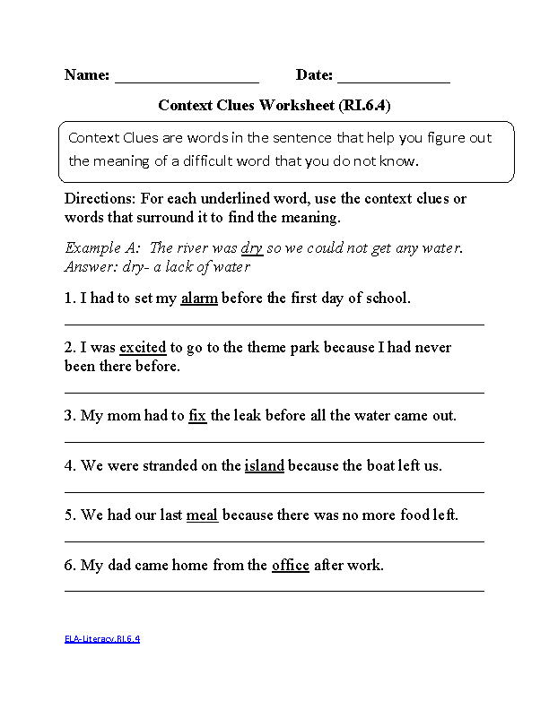 Printable Worksheets reading worksheets for grade 1 : 6th Grade Common Core | Reading Informational Text Worksheets