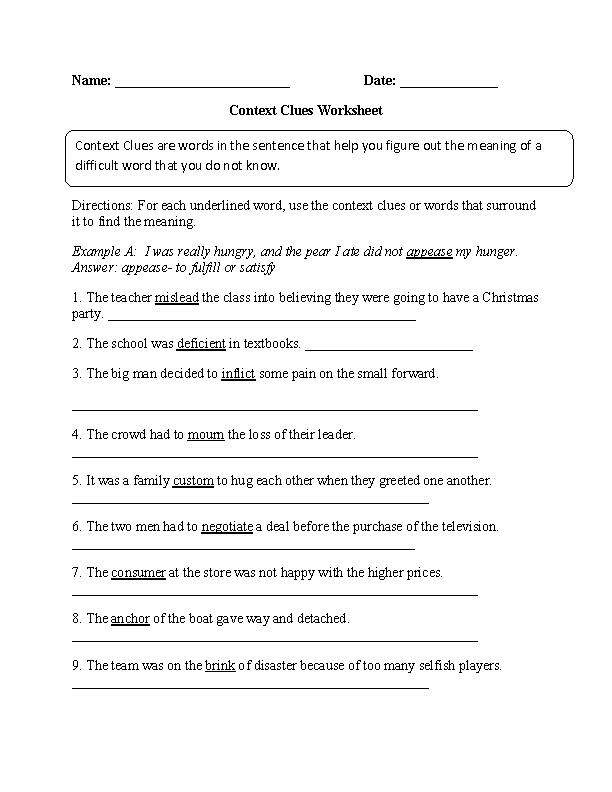 Printables Using Context Clues Worksheets englishlinx com english worksheets context clues worksheets