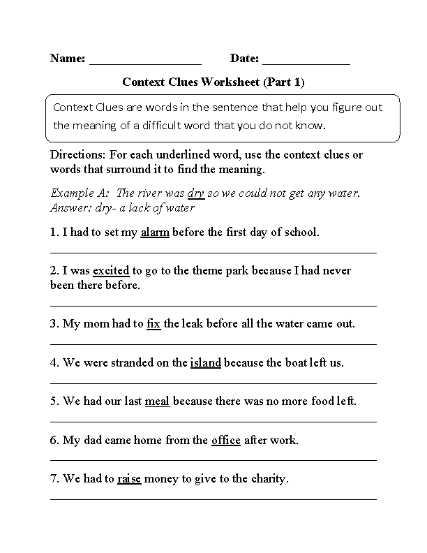 2nd Grade vocabulary worksheets 2nd grade Englishlinx.com | Context Clues Worksheets