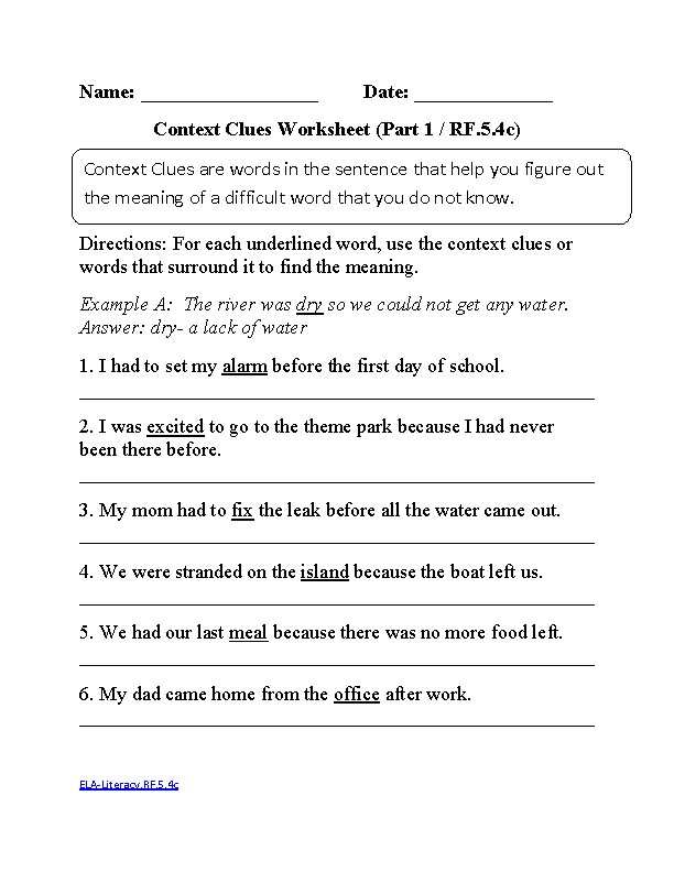 English Worksheets – Common Core Worksheet