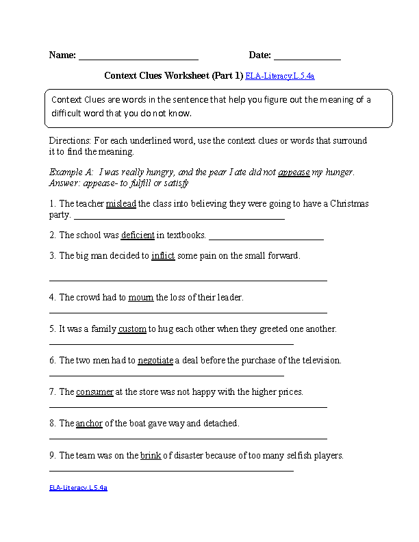 Context Clues 1 ELA-Literacy.L.5.4a Language Worksheet