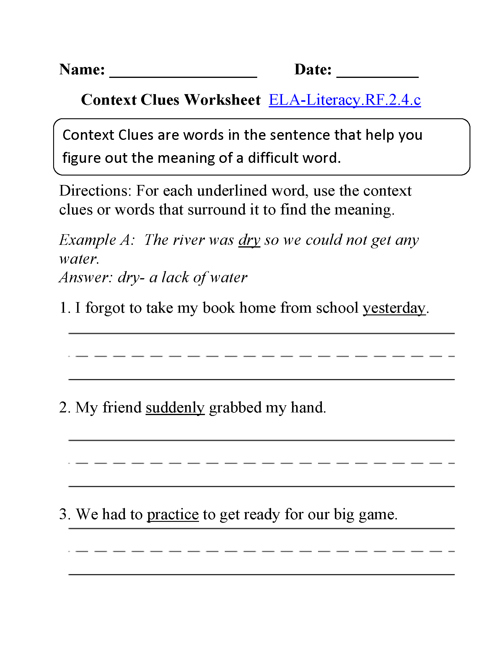 English Worksheets – Common Core Reading Worksheets